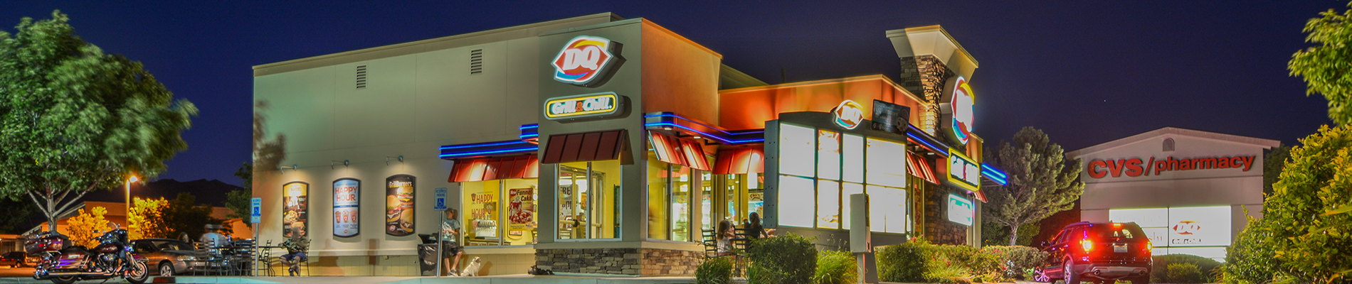 Night shot of Dairy Queen Building in Carson City, Nevada.
